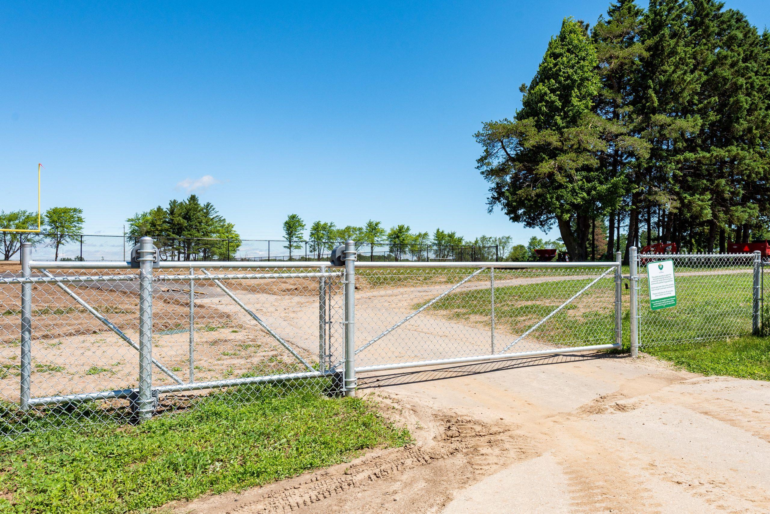 Galvanized chainlink fence gate